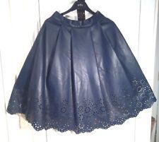 DARLING BLUE Faux Leather PU Below Knee SKIRT uk10eu36us6 Waist w27ins w69cm