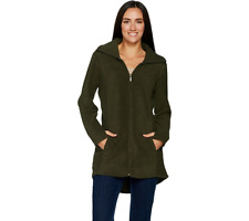 Denim & Co Fleece Zip Front Long Sleeve Jacket With Hi Low Hem Size M True Olive