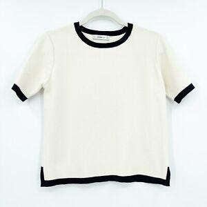 Zara Women's Medium Top Shirt Knit Short Sleeve Contrast Trim Cream Ivory Black