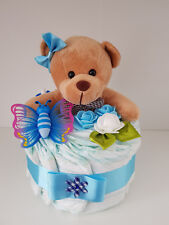 Windeltorte blau-Junge; Geschenk zur Geburt, Taufe, Babyparty; Pampers Gr.3, Bär