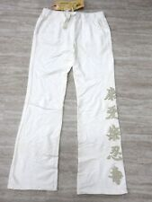NEW Da-Nang Women's Casual Sweatpants Embroidered Flowy WHITE FTG50481540 SMALL