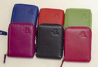 New Full  Leather Zipped Credit/Store Cards Holder/Wallet Black/Pink/Blue/Orange