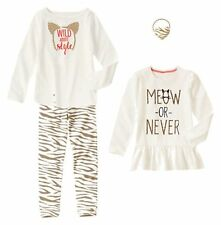 Size 5 Gymboree RIGHT MEOW Girls Outfit, Tunic, Tee, Leggings, Pony Holder, NWT