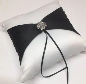 Weddingstar Ring Pillow White&Black Rhinestone Broach 9x9 Satin NIB