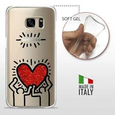 Galaxy S7 Edge TPU CASE COVER GEL PROTETTIVA TRASPARENTE HARING Glitter Heart