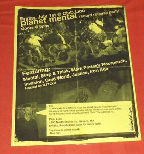 Punk Flyer Poster Planet Mental  Original 8.5x11 Stop & Think Mark Porter's