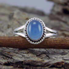 New Look 925 Sterling Silver Hot Blue Chalcedony Ring SZ-9 sr-762
