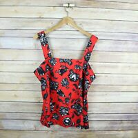 VINCE CAMUTO Women's Sleeveless Floral Print Top SIZE M Medium Red & Black