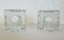 2 dimpled glass candle holders