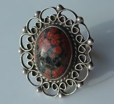 Mexico 925 Cocktail Sterling Silver Ring Size 4 Vtg Red Moss Agate ? Dg Hecho en