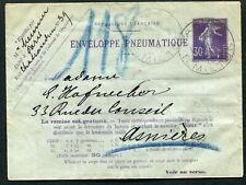 France pneumatic postal stationery env. 1911 30c Mi. RU17 used (cat €35) type B