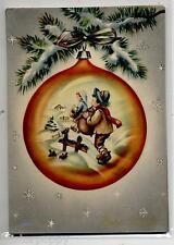Bambino con Cornamusa in Pallina Albero di Natale Children Xmas PC Circa 1950 4