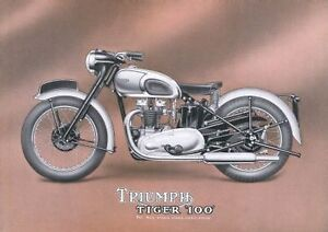 1949 Triumph Tiger 100 500cc motorcycle poster