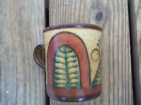 Art Pottery Mug Fern Scroll Design Brown Beige Green Coffee Cup EXC.