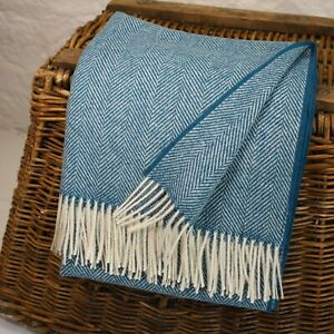 Blue Large Herringbone 100% Wool British Made Tweed Fabric Blanket Throw