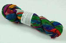100g Recycled Sari Silk Ribbon Yarn, Jewelry Making Trim - Multicolor