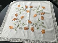 Antique/Vintage Hand Embroidered Linen Tablecloth (c 95cm x 95cm))