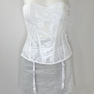 Fredericks of Hollywood NWT Corset Bustier Sweetheart Neck Bridal Lace $89 White
