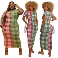 Plus Size Women's Checkered Printing Maxi Dress Bodycon Party Ball Gown Dresses