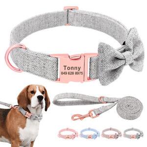 Personalised Bowtie Tweed Dog Collar and Lead Custom Metal ID Buckle Small Large