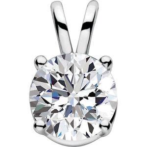 14K White Gold Ladies Swarovski CZ Pendant, Cubic Zirconia Pendant