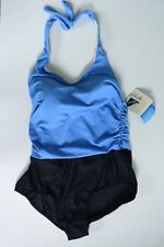 L.L. Bean Shape Solver One Piece Halter Swimsuit Ruched Side Size 14 NWT