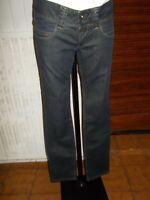 Pantalon taille basse SLIM bleu PEPE JEANS 40/42 brodé logo poche arrière 17GR11