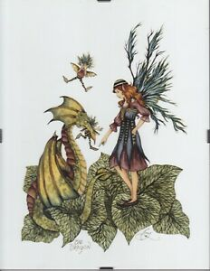 """Bad DragonPrint by Fantasy Artist Amy Brown Framed Ready to Hang 8.5"""" x 11"""
