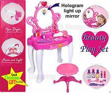 Girls Dressing Table Princess Mirror Stool Role Play Kids Makeup Toy Hologram