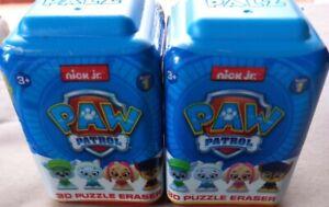 NICK JR PAW PATROL 3D PUZZLE ERASER X 2 NEW BOXED