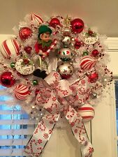 Super Sweet and Fun handmade Christmas Wreath Candy Cane theme with Elf OOAK