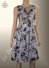 IVANKA TRUMP Women Dress Size 8 BEIGE Knee FLORAL Sleeveless Dressy LBCUSA