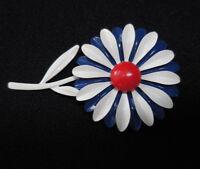 Vintage Red White Blue Enamel Daisy Flower Brooch Pin