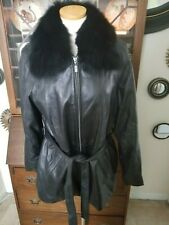euc Izod sz L black Leather coat fur collar belted jacket blazer bomber