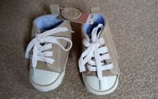 BNWT Next Baby Boys Beige Real Leather Lace Up High Top Trainers Infant Size 1