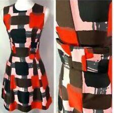 BNWOT KATE SPADE women geometric print S/L dress with back bow in red/blk szUS2