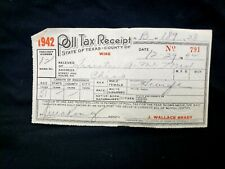 1942 State of Texas Wise County Poll Tax Receipt Deputy vintage old Original!