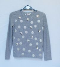 H&M girl's silver grey 'sparkly' long sleeve top Age 6-8 yrs (122/128 cm)