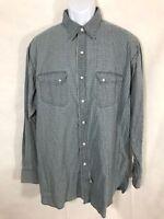 NWT Ralph Lauren Double RL RRL Blue Beige Print Snap Button Western Shirt Sz L