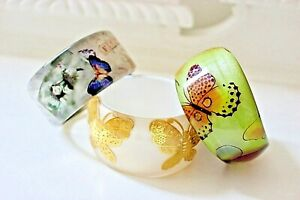 Vintage Lucite Butterfly Bangles