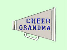Cheerleading Cheer Grandma Megaphone Lapel Pin - Glossy Silvertone Finish