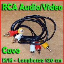 Cavo RCA ★ Audio / Video ★ lung. 120 cm ★ Audio Stereo ★ Video Composito ★ Nuovo