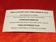 FORD ESCORT RS MEXICO CORTINA GRANADA CAPRI engine bay coolant sticker