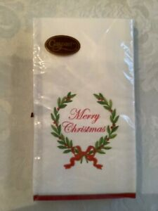 Caspari Merry Christmas Laurel Wreath Guest Towels/Napkins - Pack of 15