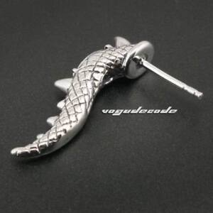 White CZ Stone 316L Stainless Steel Claw Tail Mens Biker Stud Earring Gift 3Q008