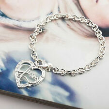 925 Sterling Silver Plated Guess Heart Chain Bracelet Fashion Bangle Bracelets