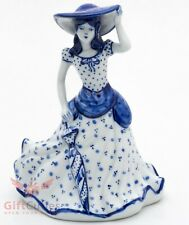 Gzhel Porcelain Victorian Lady in dress Bell Figurine souvenir