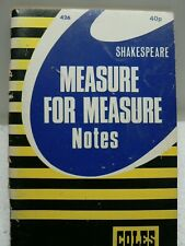 Measure For Measure Shakespeare Notes Study Guide Coles 1971