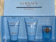 Versace Eau Fraiche for Men EDT After Shave Sh Gel  Mini 3pc Set NIB