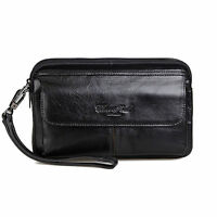Men Genuine Leather Clutch Bag Business Small Handbag Cell/Mobile Phone Wallet
